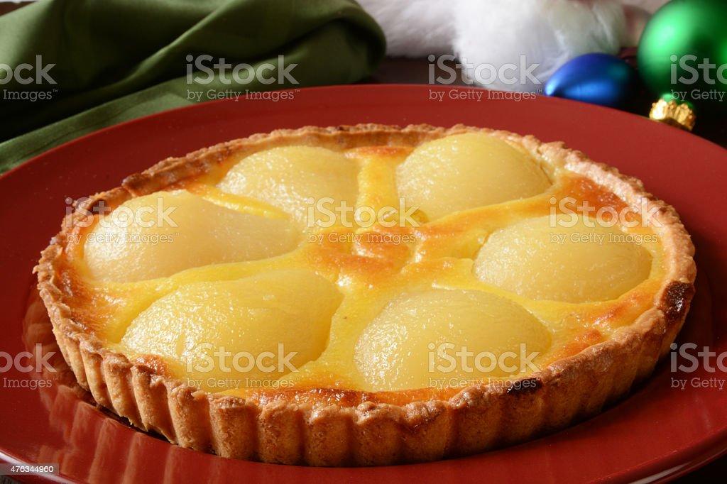 Gourmet pear tart stock photo