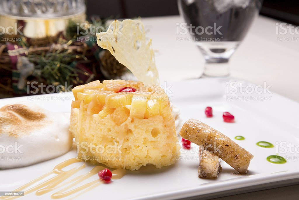 Gourmet Pineapple Upside Down Cake stock photo