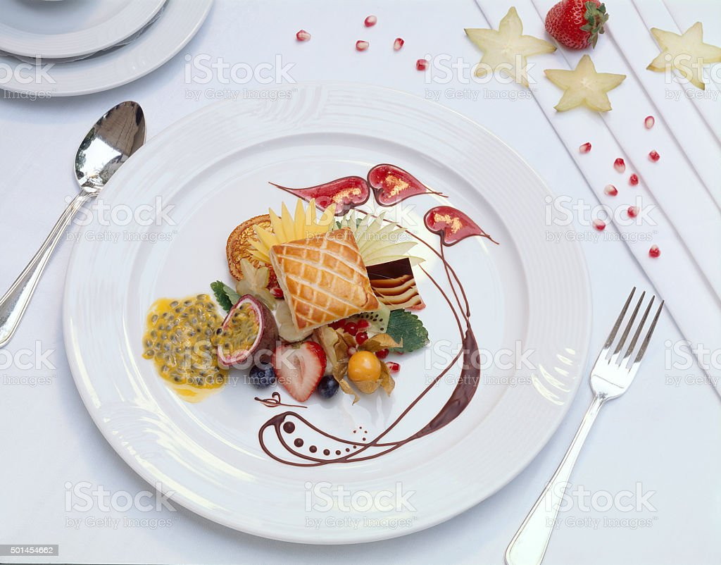 Gourmet puff pastry dessert with ornament stock photo
