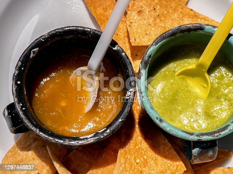 Gourmet Red and Green Mexican Salsa in a Restaurant in Chihuahua, Mexico