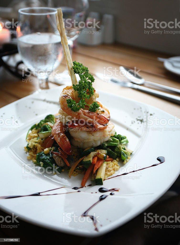 Gourmet Restorant shrimp plate for dinner royalty-free stock photo