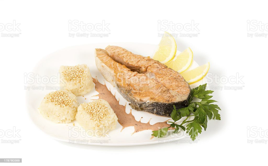 Gourmet salmon steak royalty-free stock photo