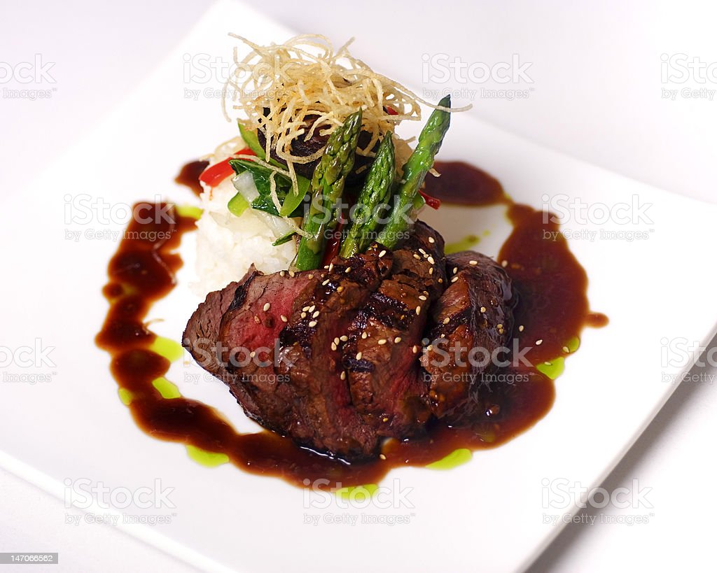 Gourmet steak meal served at restaurant royalty-free stock photo