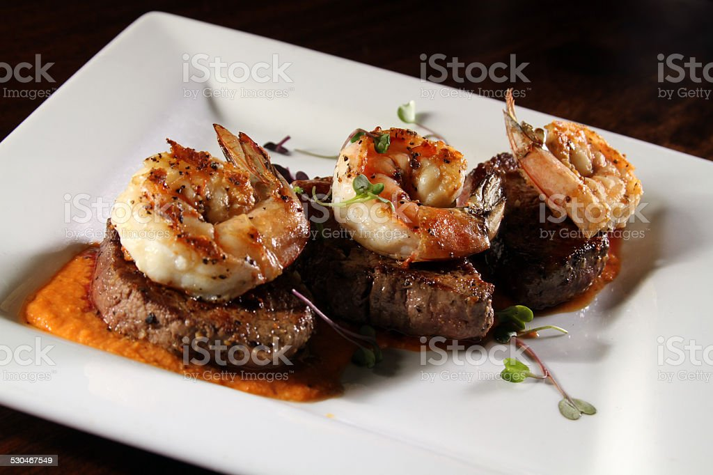 Gourmet surf and turf stock photo