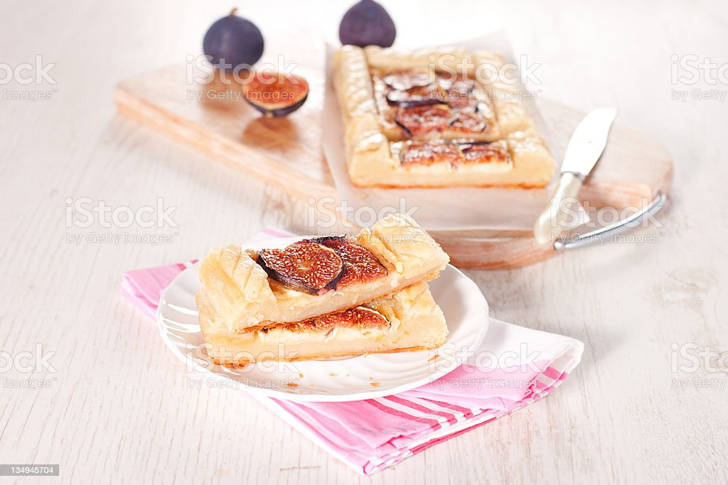 Gourmet tart with figs stock photo