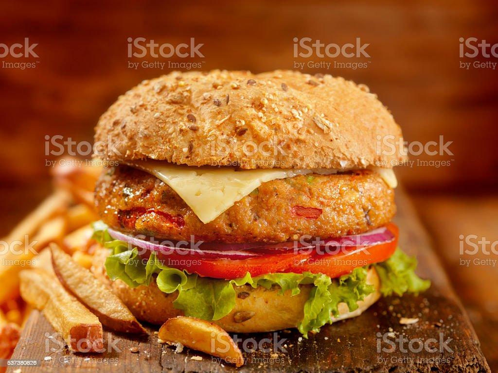 Gourmet Veggie Burger with Red Skin Fries stock photo