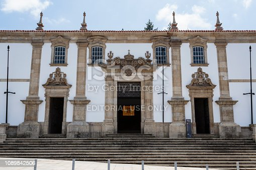 The main portal on the facade of the 18th century College of the Jesuits, today the City Council building of Gouveia, Beira Alta, Portugal