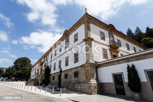 Partial view of the main facade of the 18th century College of the Jesuits, in the city of Gouveia, Beira Alta, Portugal