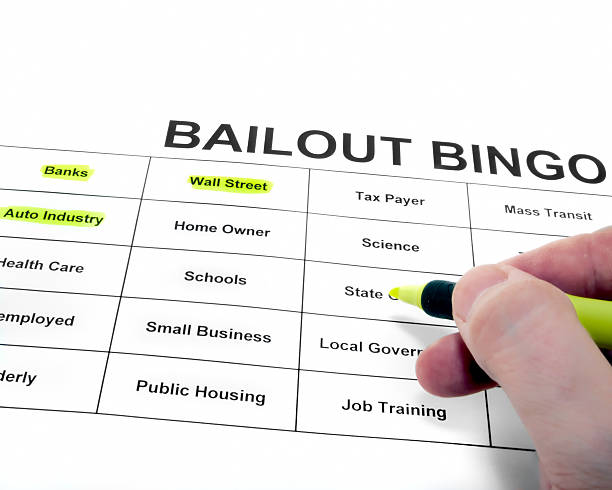 Government Bailout A person playing bingo using words around the government bailout. bailout stock pictures, royalty-free photos & images