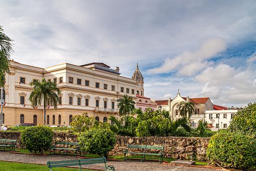 Government building and Sanctuario de la Esperanza, Casco Viejo, Panama City, Panama.