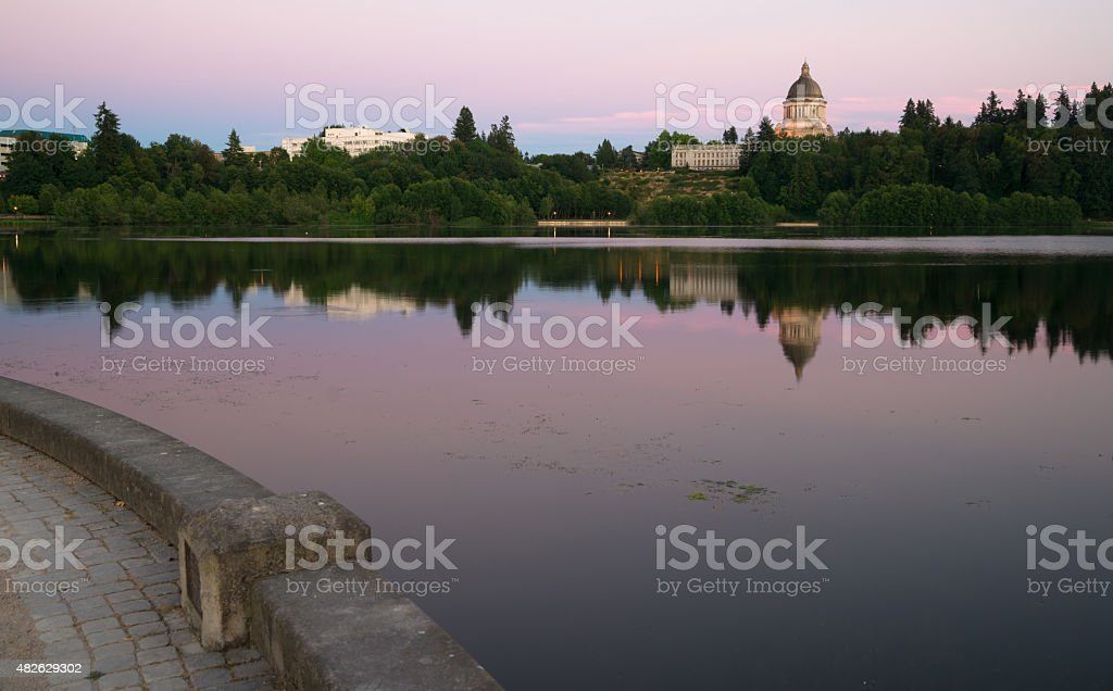 Government Building Capital Lake Olympia Washington Sunset Dusk stock photo