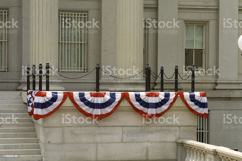 Government Building in Washington DC Decorated 4th of July Bunting stock photo