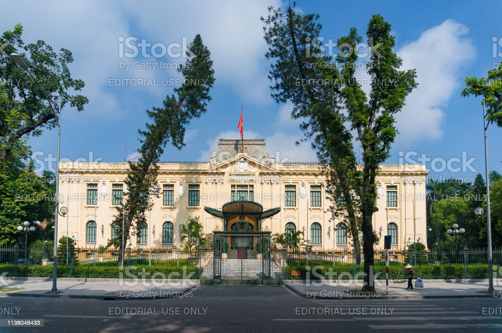 Government Guesthouse exterior in Hanoi city in Vietnam stock photo