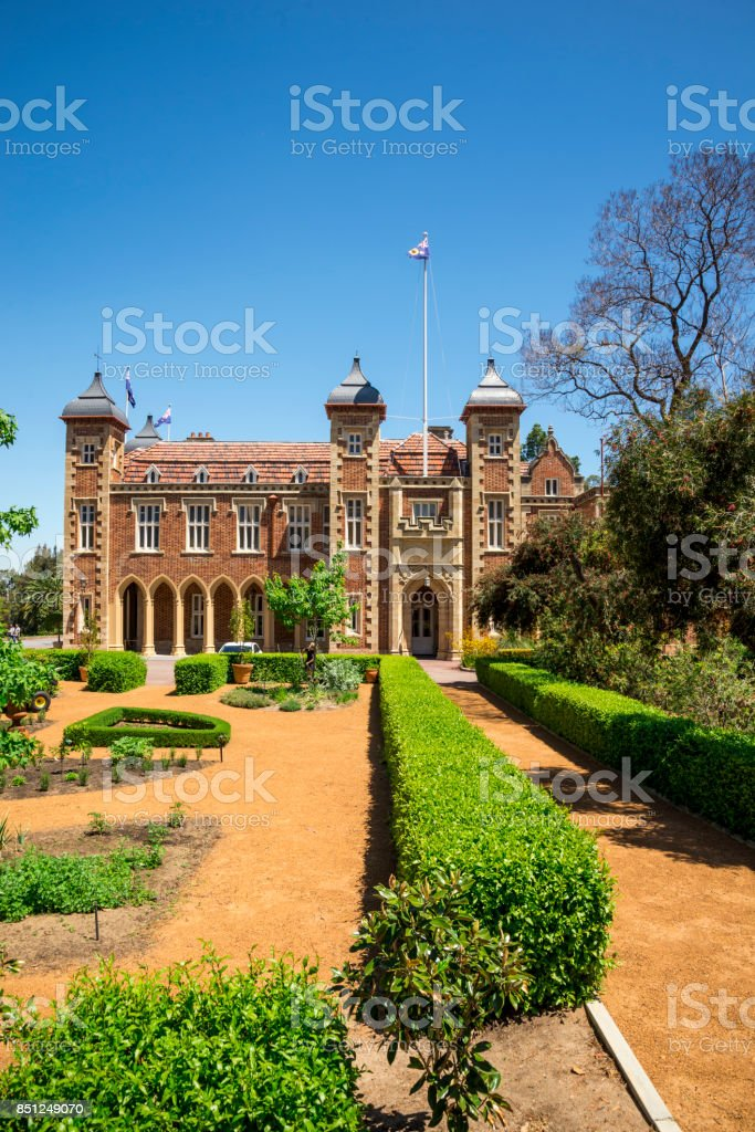 Government House and landscaped garden in Perth City center, Western Australia stock photo
