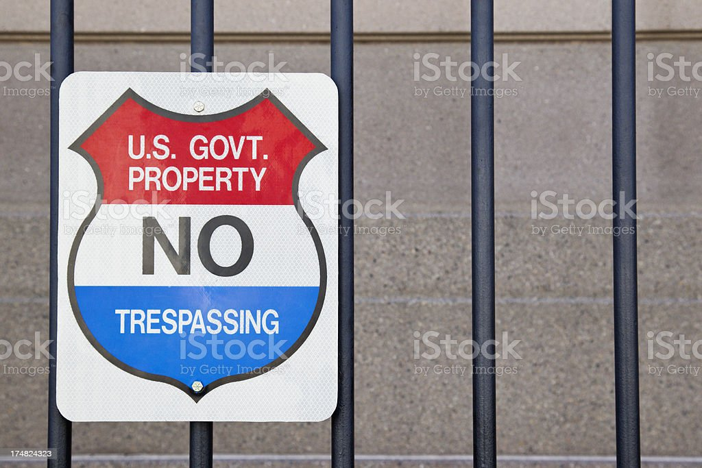 US Government No Trespassing Sign royalty-free stock photo