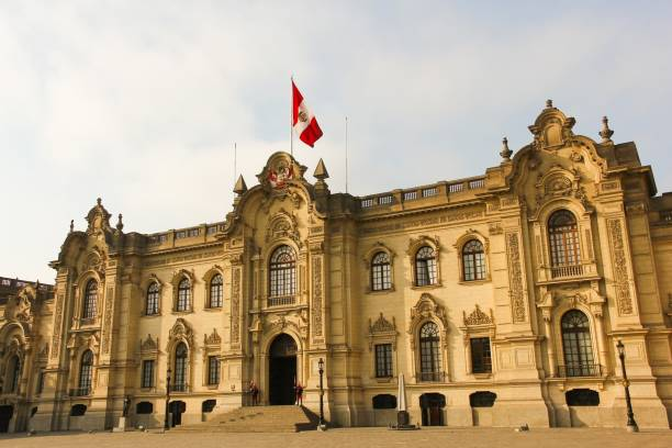 Government Palace of Peru in Lima before sunset stock photo