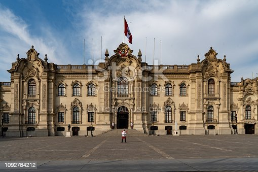 Lima, Peru - October 18, 2018: The guard is guarding Government Palace building,  Main Square Lima city historical heritage center architecture, Peru travel destination tourism.