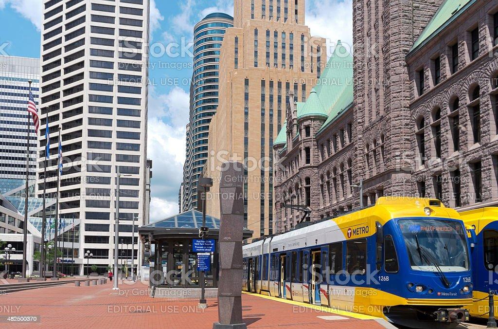 Government Plaza Cityscape of Minneapolis stock photo