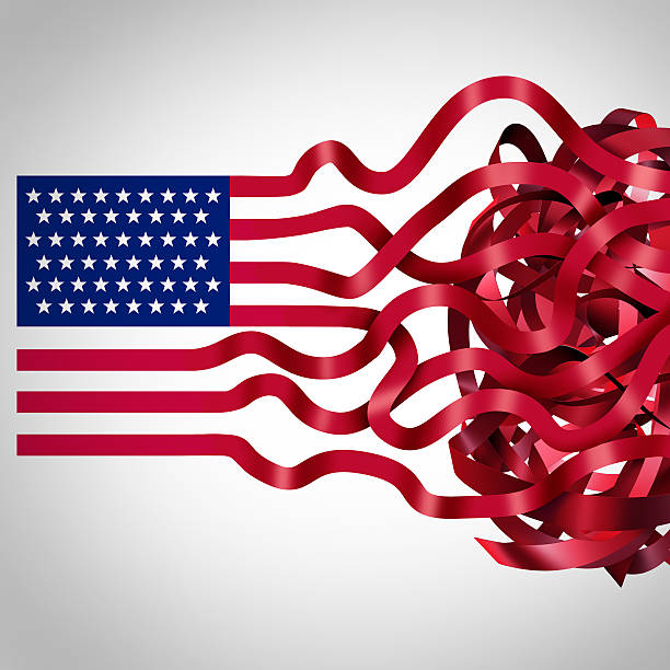Government Red Tape Government red tape concept and American bureaucracy symbol as an icon of the flag of the United States with the red stripes getting tangled in confusion as a metaphor for political and administration inefficiency. bureaucracy stock pictures, royalty-free photos & images