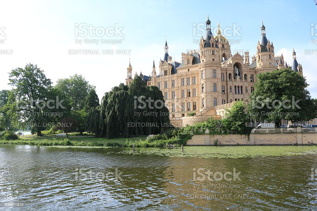 government seat at lake schweriner see mecklenburg vorpommern germany stock photo