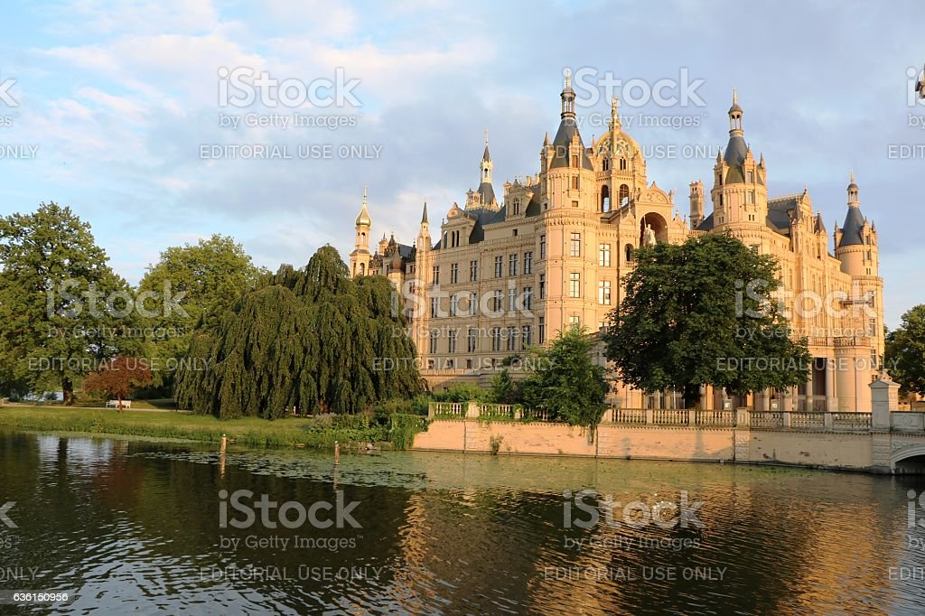 government seat in schwerin at schwerin lake mecklenburg vorprommern germany stock photo