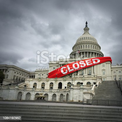 USA shutdown and United States government closed and american federal shut down due to spending bill disagreement between the left and the right pas a national finance symbol with 3D illustration style.