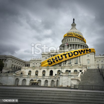 USA shutdown and United States government closed and american federal shut down due to spending bill disagreement between the left and the right pas a national finance symbol with yellow hazard tape in a 3D illustration style.