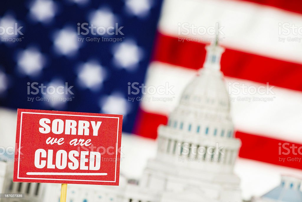 Government Shutdown: Sorry We Are Closed stock photo