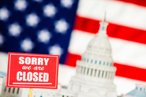 Government Shutdown Sorry We Are Closed Stock Photo - Download Image Now