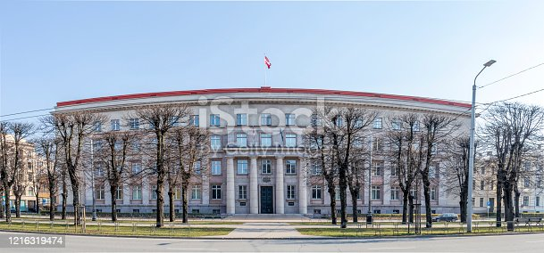 istock Governmental building exterior of the Cabinet of Ministers and State Chancellery in Riga, Latvia 1216319474