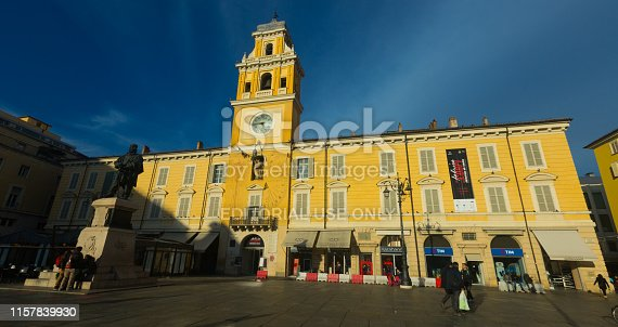 PARMA, ITALY - DECEMBER 05, 2017: View of Governor Palace on Garibaldi square in sunny winter day