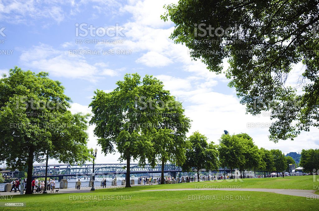 Governor Tom McCall Waterfront Park in Portland, OR stock photo