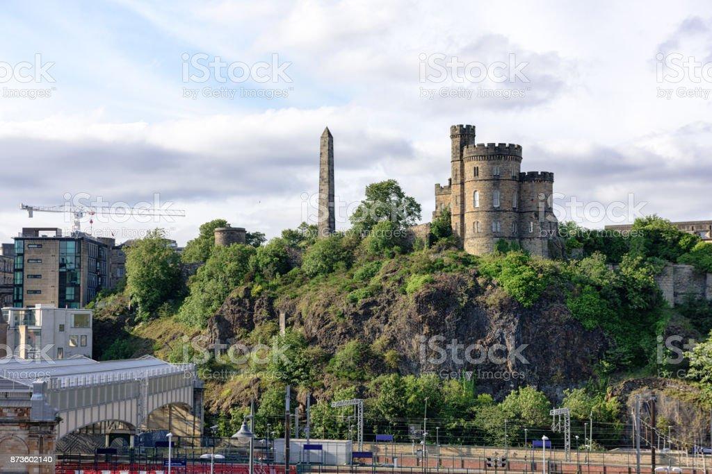 Governors House and Obelisk, Calton Hill, Edinburgh, Scotland stock photo