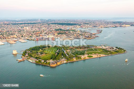 Governors island of New York aerial view at day