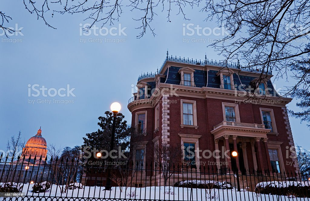 Governor´s Mansion and Missouri State Capitol Building stock photo