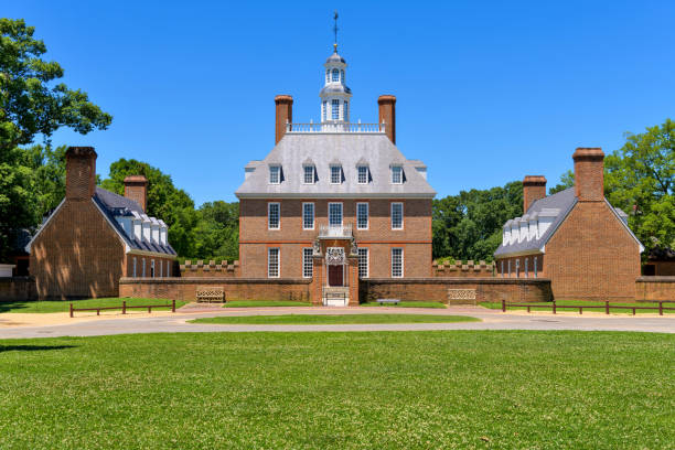 Governor's Palace - A full front view of the historic Governor's Palace, in Colonial Williamsburg, Williamsburg, Virginia, USA. stock photo