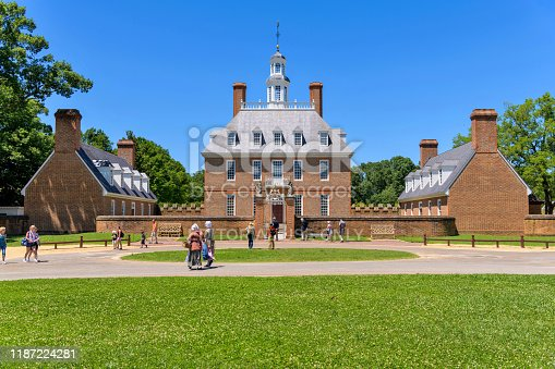 Williamsburg, Virginia, USA - June 11, 2019: A sunny day view of the Governor's Palace, the home for the Royal Governors and the first two elected governors of Virginia, now a popular tourist attraction.