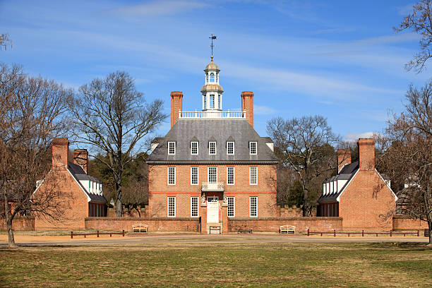 Governor's Palace in Williamsburg, Va Historic Governor's Palace in Colonial Williamsburg, Va. colonial style stock pictures, royalty-free photos & images
