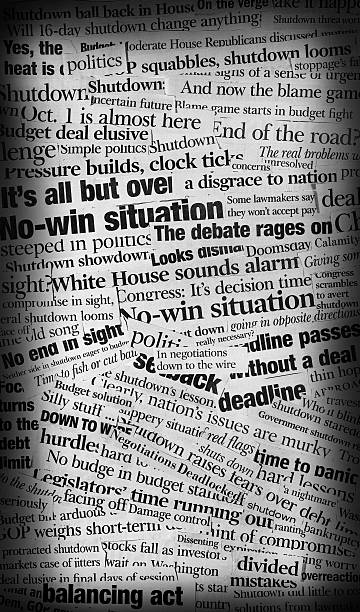 US Govt shutdown headling collage A  grungy black and white collage made up of newspaper clippings with the topics of the 2013 US federal govt shutdown. newspaper cutouts of bad news headlines stock pictures, royalty-free photos & images