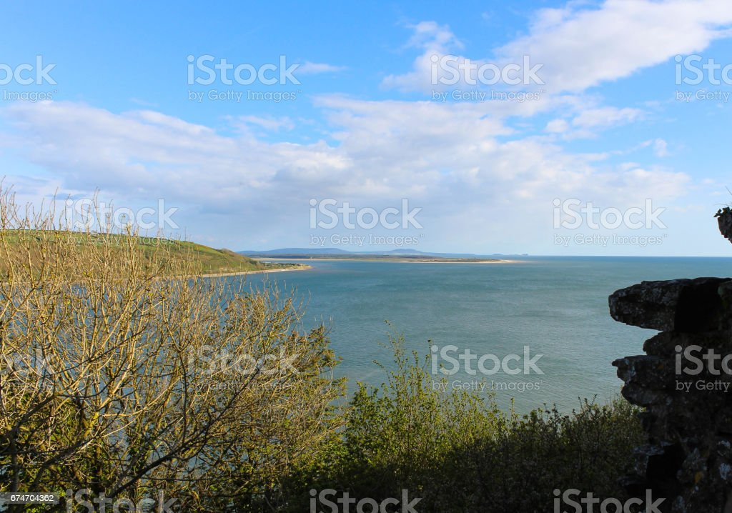 Gower Penisula from Llansteffan Castle stock photo