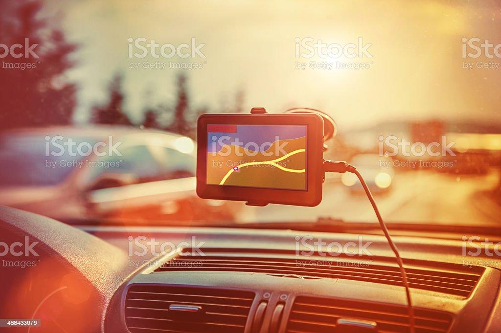gps car navigation system stock photo