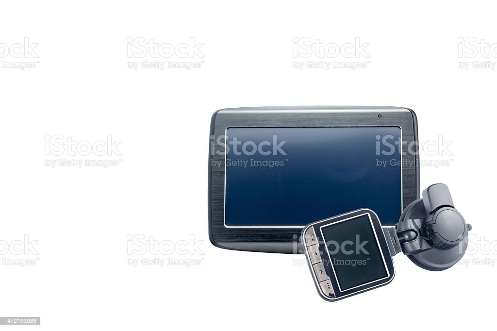 Gps navigation and car security camera isolated stock photo