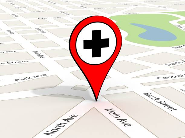 Gps navigation road map pin hospital medical stock photo