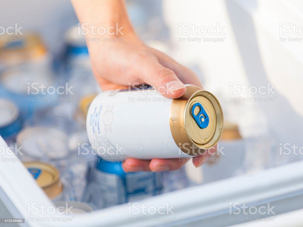 Grab a Cold Beer from the Cooler stock photo