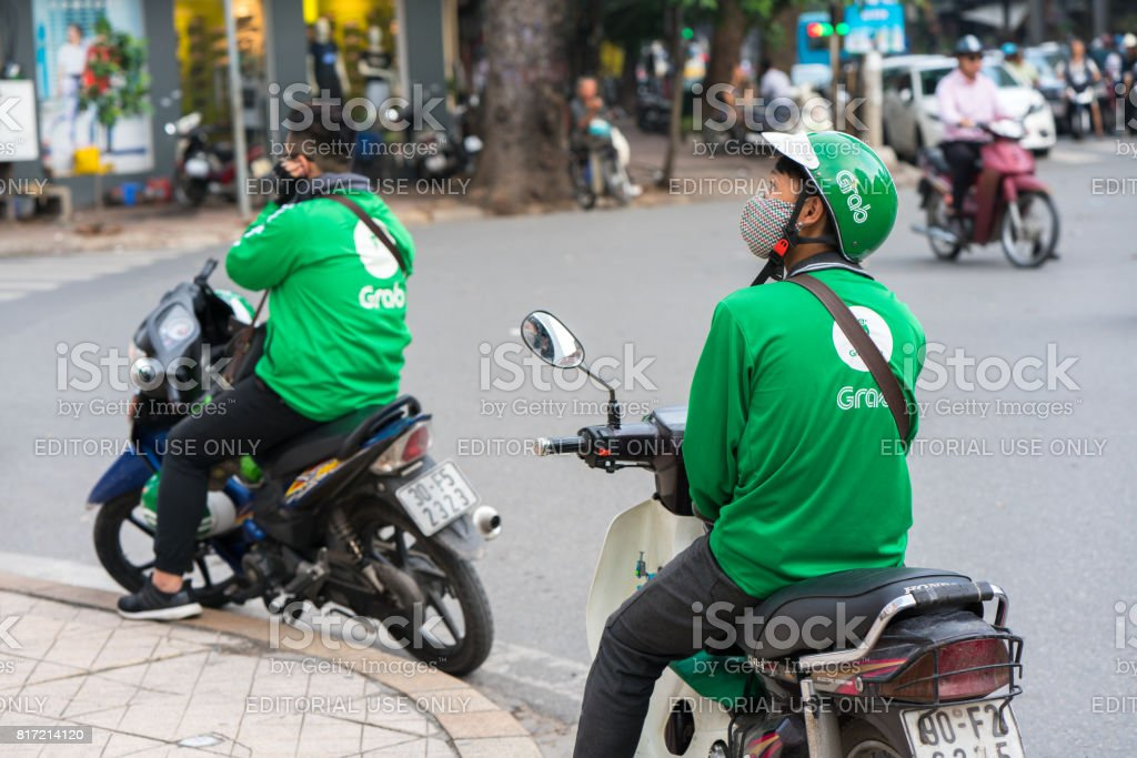 Grab Motorbike Driver Stock Photo - Download Image Now - iStock