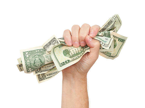 """Grab The Money """"Man grabs the money! Hand full of cash, isolated on white.Please also see:"""" handful stock pictures, royalty-free photos & images"""
