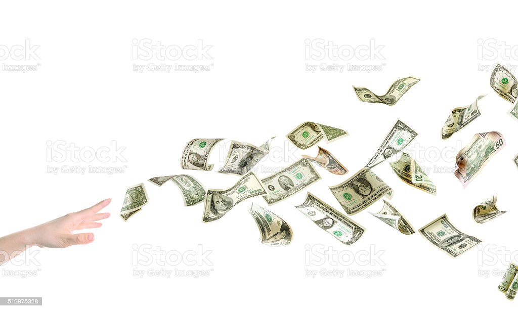 Grabbing for Cash stock photo