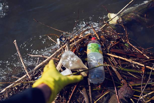 Plastikflasche am Fluss gepackt – Foto