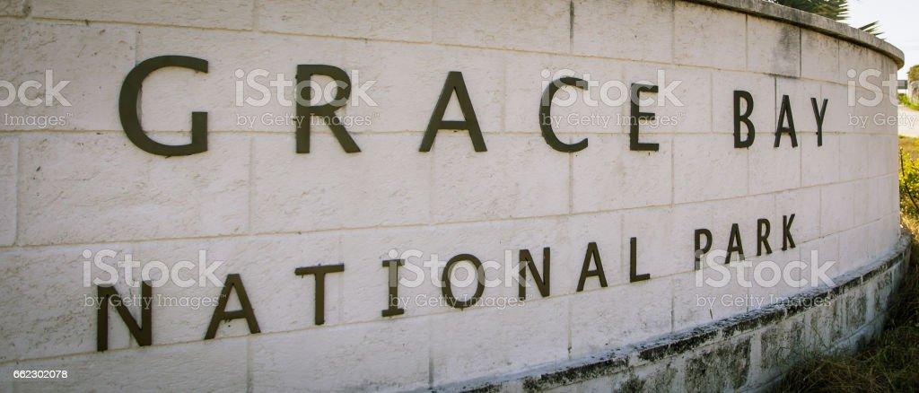 grace bay national park sign stock photo