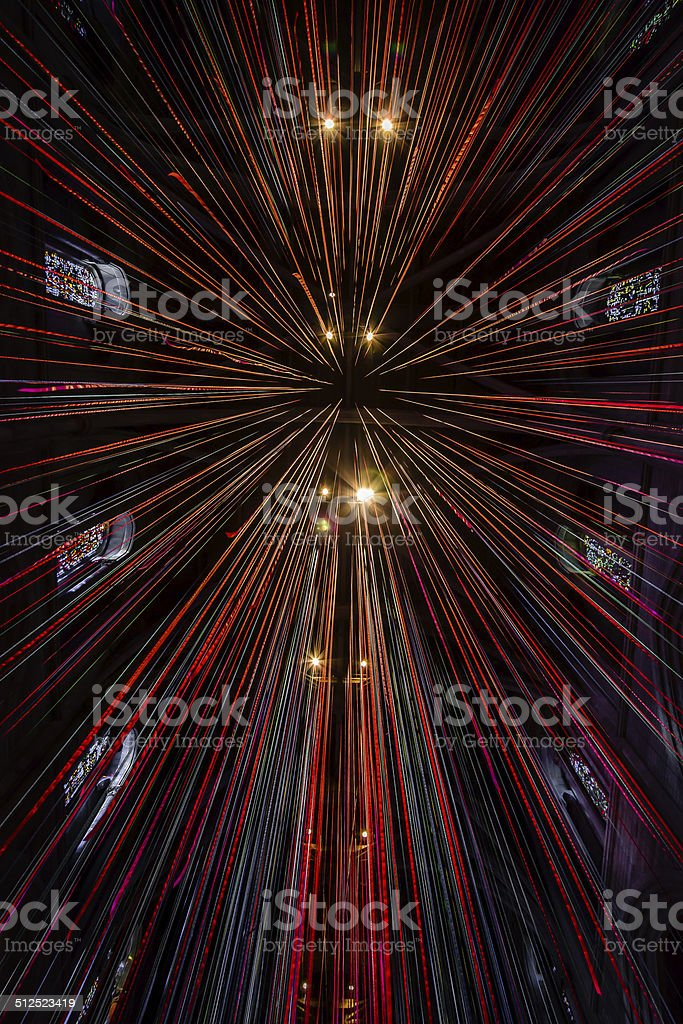 Grace Cathedral - Ceiling Ribbons stock photo